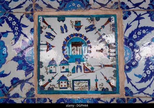 Tiles, Iznik pottery, Rüstem Pasha Mosque, Eminönü, Istanbul, European side, Istanbul Province, Turkey, - Stock Image