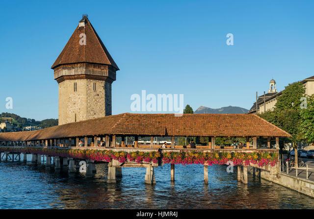 world heritage Chapel Bridge ,  river Reuss, Lucerne, Switzerland - Stock Image