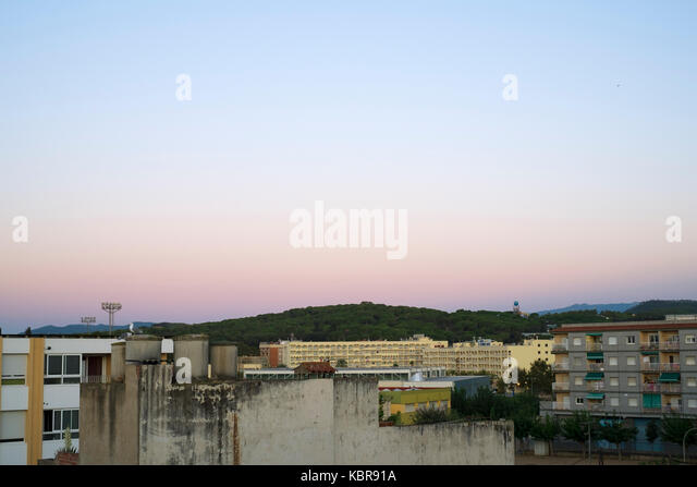 Sunrise view from the roof of the Hotel Ninays, Lloret de Mar, Spain - Stock Image