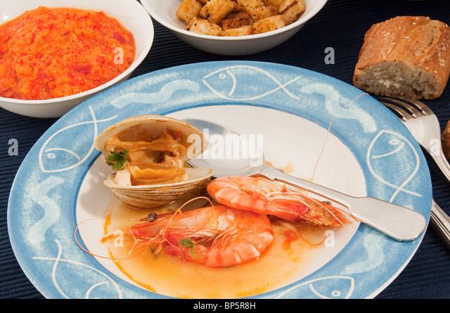 Bouillabaisse seafood stew - Stock Image