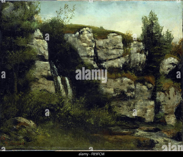 Gustave Courbet - Landscape with Rocky Cliffs and a Waterfall - Stock Image