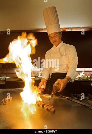 Nagaoka-san. Expert Teppan chef. Kyoto, Japan - Stock-Bilder