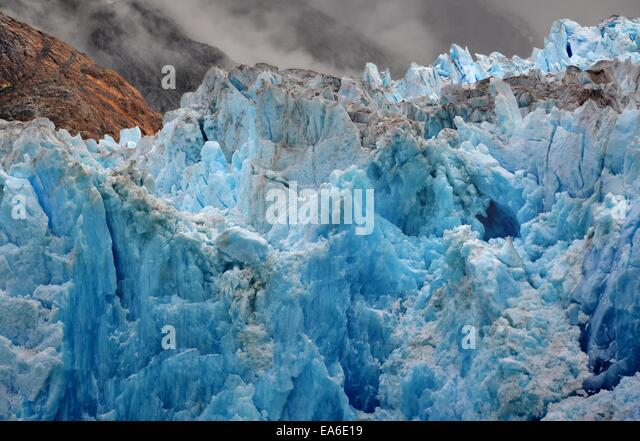 USA, Alaska, Tongass National Forest near Juneau, Blue ice of South Sawyer Glacier - Stock Image