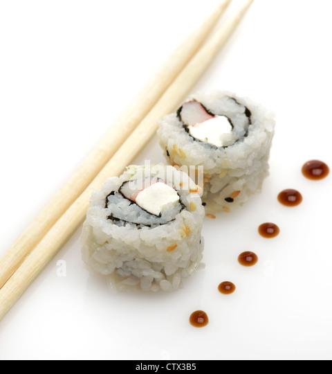 Sushi,Close Up On White Background - Stock Image