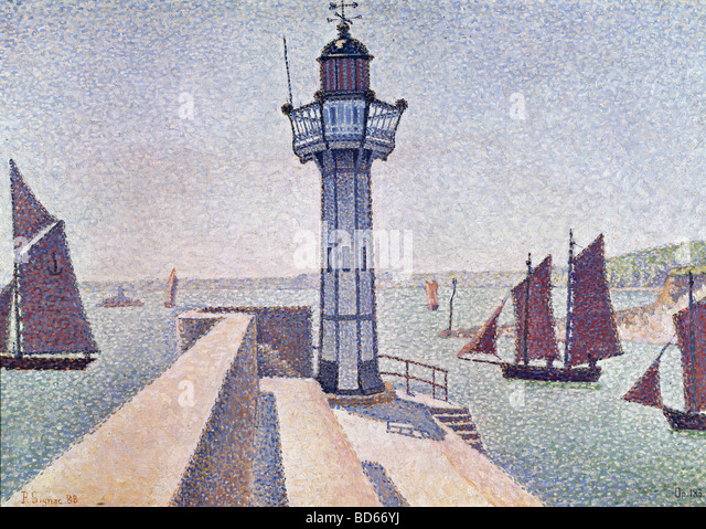 fine arts, Signac, Paul, (1863 - 1935), painting, 'Portrieux, Le Phare', 1888, Rijksmuseum Kröller - Stock-Bilder