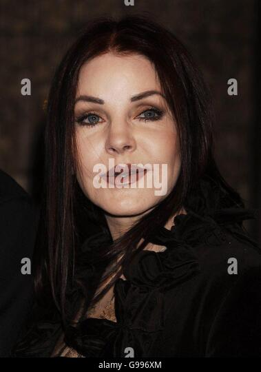 Priscilla Presley at a photocall for the launch of her bed linen collection, at Harrods in Knightsbridge, west London, - Stock Image