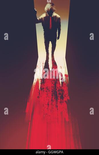 man standing in front of the door,murder concept,illustration painting - Stock-Bilder