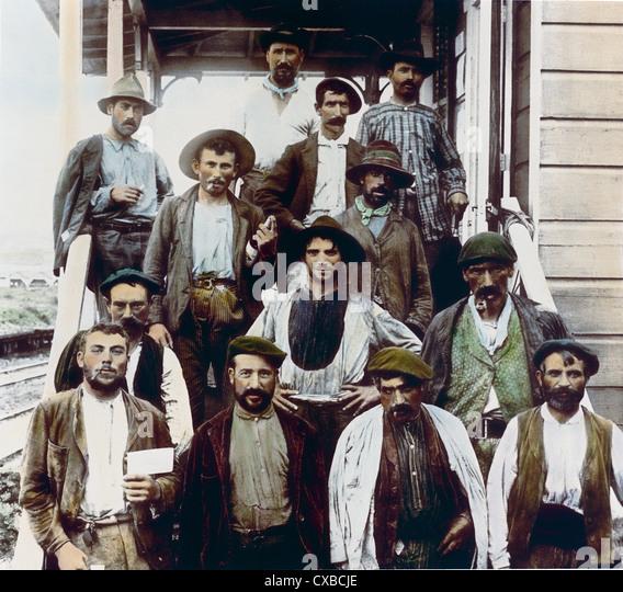 Spanish Construction Workers, Panama Canal, Panama, 1912 - Stock Image