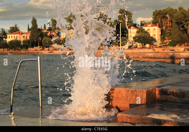 Power of the sea - powerful wave crash in the breakwater during the storm - Stock Image