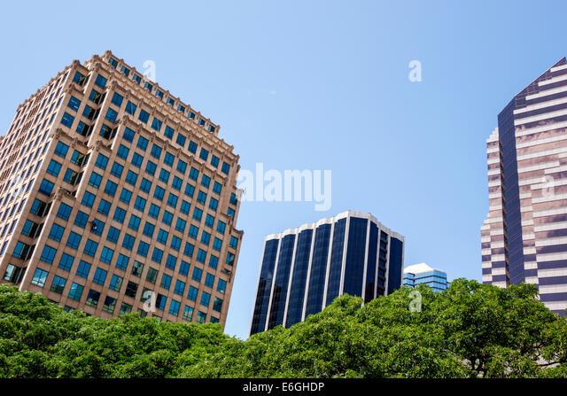 Hawaii Hawaiian Honolulu downtown city skyline skyscrapers office buildings - Stock Image