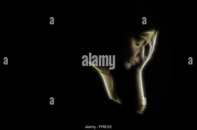 Depression concept – artistic portrait of sad woman - Stock Image