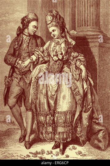 French bourgeois couple of newly-weds wearing 18th century fashion / costume. Rise of the middle class, aspirations - Stock Image