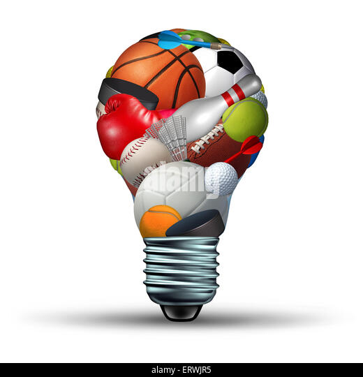 Sports activity ideas concept as a lightbulb shape on a white background with sports equipment as football soccer - Stock Image