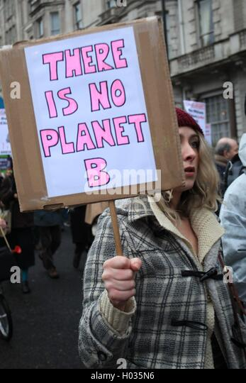 Protester at Zero Carbon Britain March - demonstration against global warming, London, UK. - Stock Image