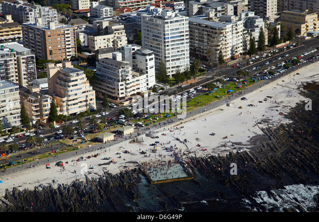 Tidal Pool and beach, Sea Point, Cape Town, South Africa - aerial - Stock Image