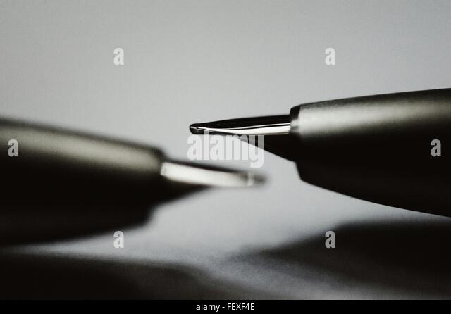 Close-Up Of Fountain Pens On Table - Stock Image