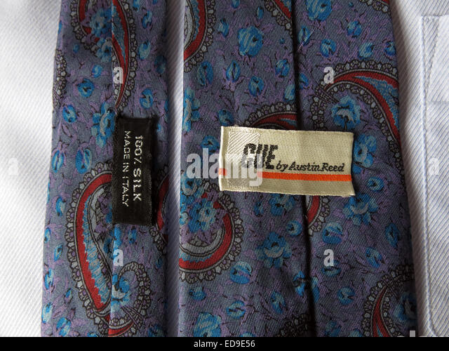 Interesting vintage Austin Reed 1970s tie, male neckware in silk - Stock Image