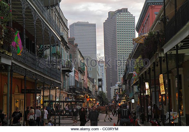 New Orleans Louisiana French Quarter Bourbon Street National Historic Landmark building architecture ironwork gallery - Stock Image