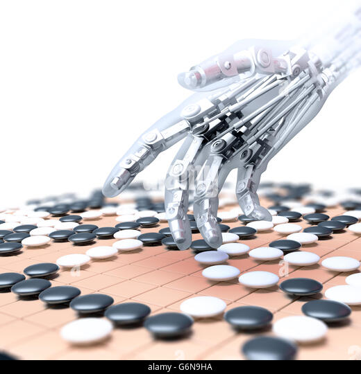 Artificial intelligence competing in the game of go - 3D illustration - Stock-Bilder