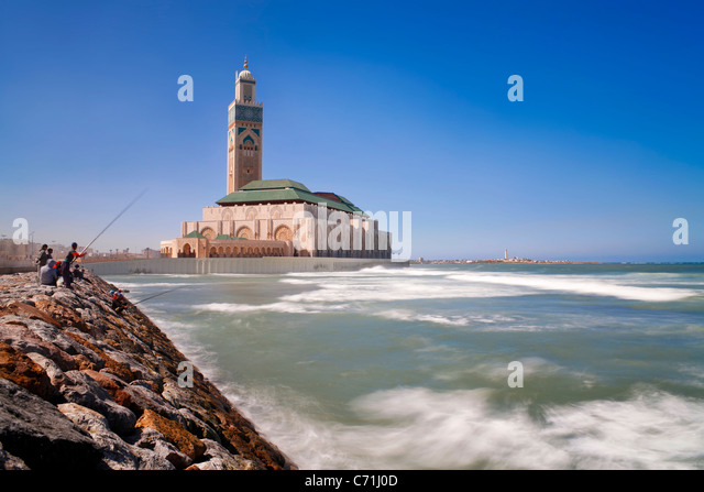 Hassan II Mosque, the third largest mosque in the world, Casablanca, Morocco, North Africa - Stock Image