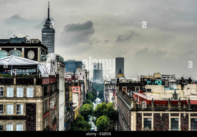 Aerial View of Mexico City as seen from the Metropolitan Cathedral. - Stock Image