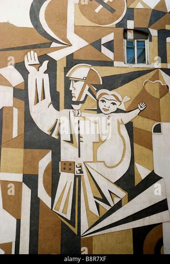 street mural baku azerbaijan caucasus travel soviet art - Stock-Bilder