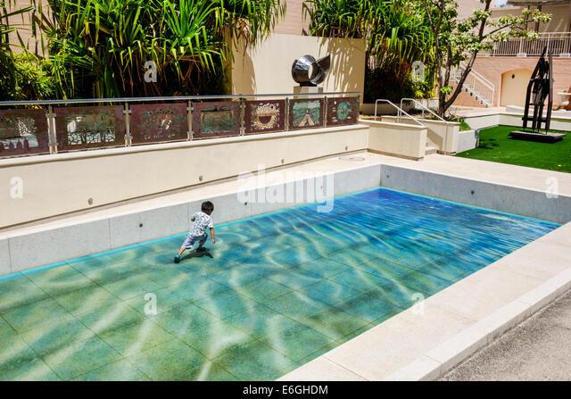 Hawaii Hawaiian Honolulu Hawaii State Art Museum Foundation on Culture and the Arts installation swimming pool tile - Stock Image