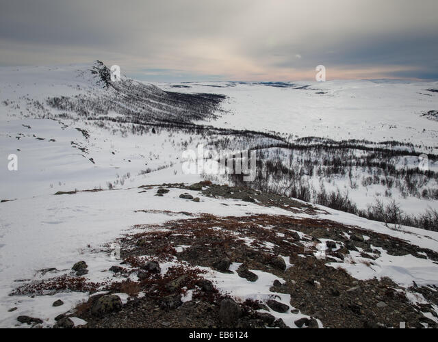 winter mountain landscape, gausdal, oppland norway - Stock Image
