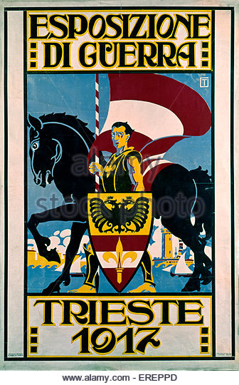 Esposizione di Guerra (War Exhibition) - poster. 1917, Trieste. By G. Petronio. Shows knight holding shield and - Stock Image