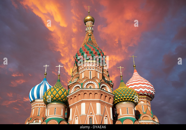 A view of the St. Basil's Cathedral, Russia, Moscow - Stock Image