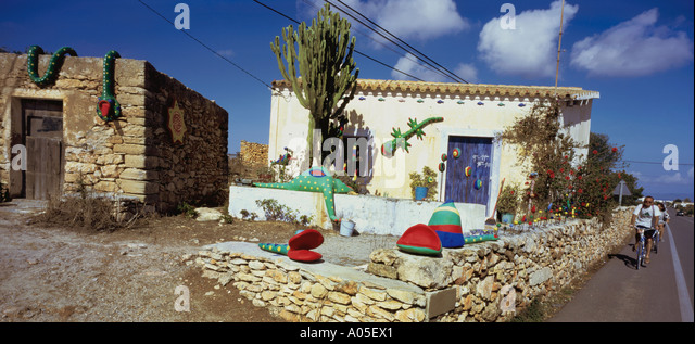 Spain Formentera San Fernando Private house Finca - Stock Image