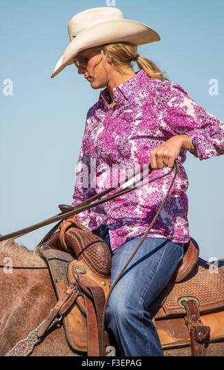 Rodeo's, People, Bruneau Round-up, Woman Horseback riding, Bruneau, Idaho, USA - Stock Image