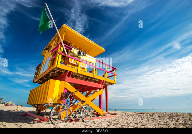 South Beach, Miami, Florida, USA lifeguard post. - Stock-Bilder