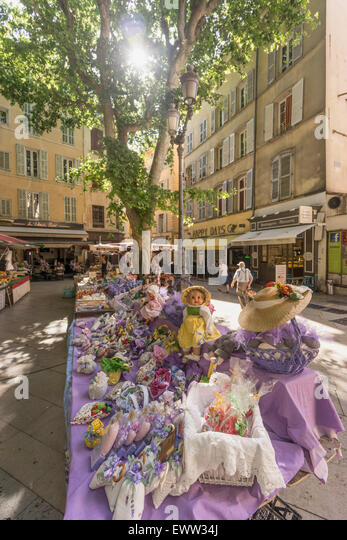 Market an Place Richelme, Lavender Souvenirs,  Aix en Provence, Bouche du Rhone, France - Stock Image