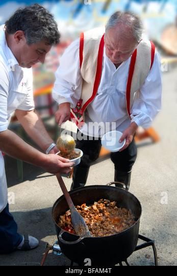 Birka porkolt ( Beef Porkolt) from Karcag. Paprika food festival, Hungary - Stock Image
