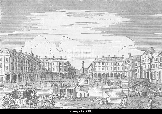 COVENT GARDEN MARKET: Looking eastward in 1786. London, antique print c1880 - Stock Image