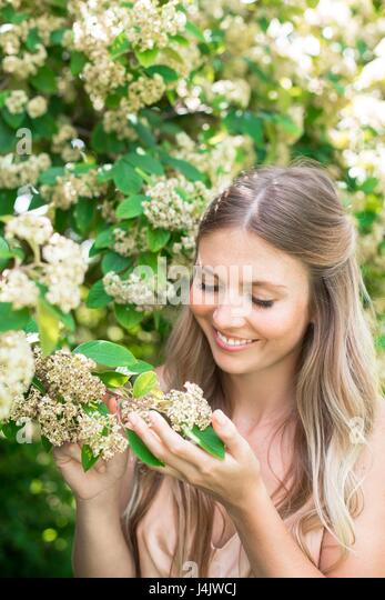 MODEL RELEASED. Young woman holding white flowers. - Stock-Bilder