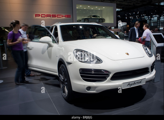 Paris, France, Paris Car Show, Porsche Hybrid Engine, People Looking - Stock Image