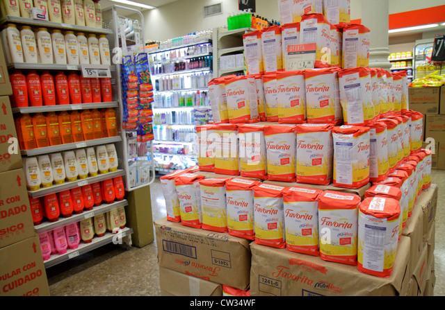 Buenos Aires Argentina Avenida Callao Disco Supermarket grocery store supermarket chain shopping display shelf shelves - Stock Image