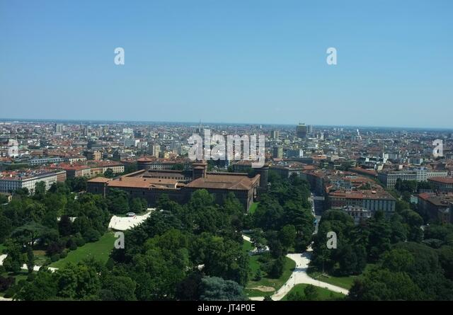 View from the Torre Branca (Branca Tower) towards the city centre and Sforzesco Castle, Parco Sempione, Milan, Lombardy, - Stock Image