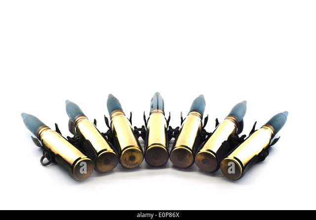 Cartridge 20 mm. caliber aircraft gunnery bullet isolated. - Stock Image
