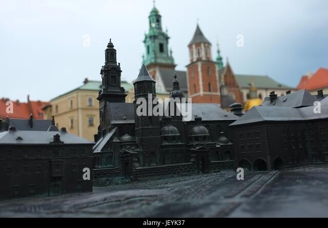 A model of the Wawel Royal Castle in front of the real thing in Old Town, Krakow, Poland, Central/Eastern Europe, - Stock Image