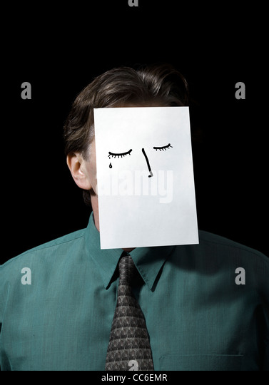Businessman with Paper drawing over Face - Stock Image