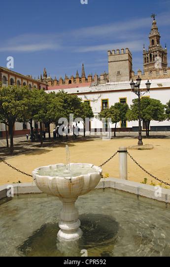 Spain. Andalusia. Seville. Royal Alcazars of Seville (Real Alcazar). Courtyard of flags. - Stock-Bilder