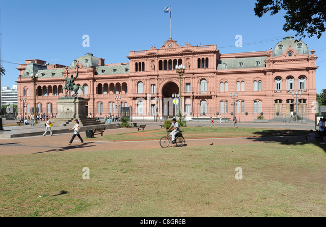 Argentina, South America, Buenos Aires, Plaza de Mayo, place, Casa Rosado, pink - Stock Image