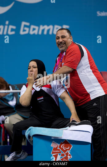 September 2, 2012 London, United Kingdom: Egypt's Fatma Omar along with her coach  celebrates her world record - Stock Image