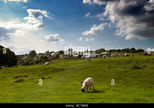 View towards Over Haddon, Peak District, Derbyshire, England - Stock Image