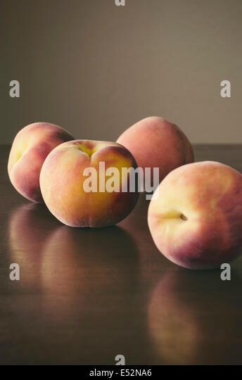 Fresh ripe peaches. - Stock Image
