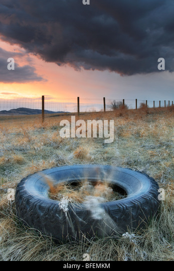 Tire left in ditch along a country road near Cochrane, Alberta, Canada - Stock Image