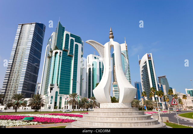 Coffee pot monument and the new skyline of the West Bay central financial district of Doha, Qatar, Middle East - Stock Image